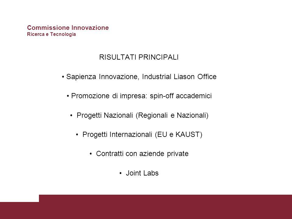 RISULTATI PRINCIPALI Sapienza Innovazione, Industrial Liason Office Promozione di impresa: spin-off accademici Progetti Nazionali (Regionali e Nazionali) Progetti Internazionali (EU e KAUST) Contratti con aziende private Joint Labs