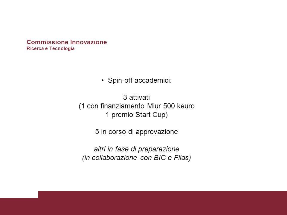 Spin-off accademici: 3 attivati (1 con finanziamento Miur 500 keuro 1 premio Start Cup) 5 in corso di approvazione altri in fase di preparazione (in collaborazione con BIC e Filas) Commissione Innovazione Ricerca e Tecnologia