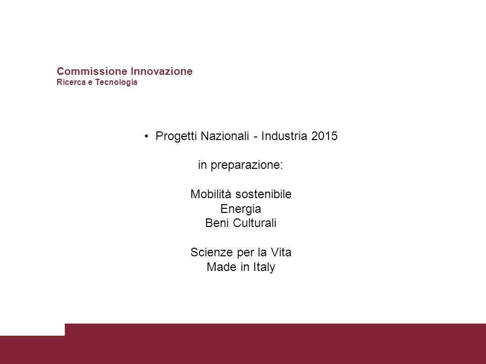 Progetti Nazionali - Industria 2015 in preparazione: Mobilità sostenibile Energia Beni Culturali Scienze per la Vita Made in Italy Commissione Innovazione Ricerca e Tecnologia