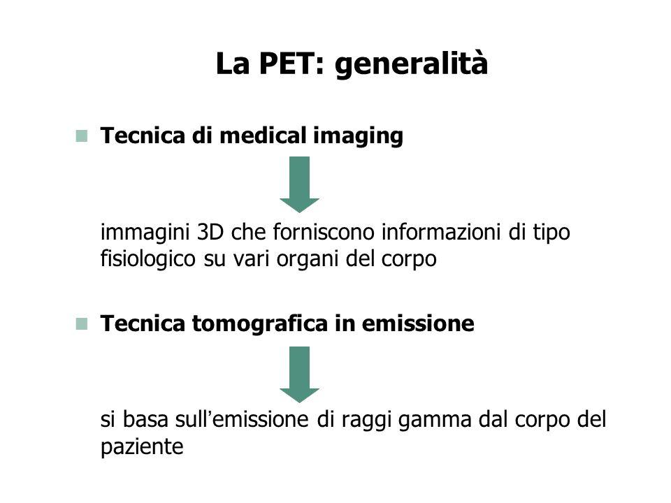 La PET e la CT a confronto PET: Nuclear medical imaging Informazioni di tipo fisiologico su vari organi Tomografia in emissione CT: Medical imaging Informazioni di tipo morfologico su vari organi Tomografia in trasmissione