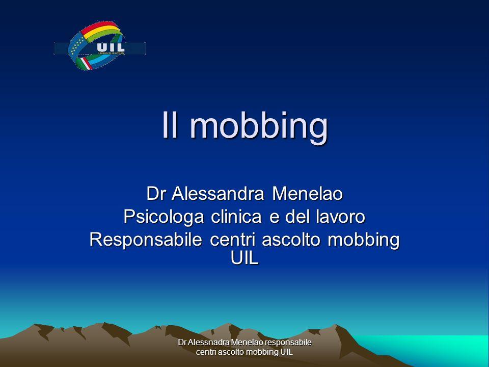 Dr Alessnadra Menelao responsabile centri ascolto mobbing UIL Il mobbing Dr Alessandra Menelao Psicologa clinica e del lavoro Responsabile centri asco