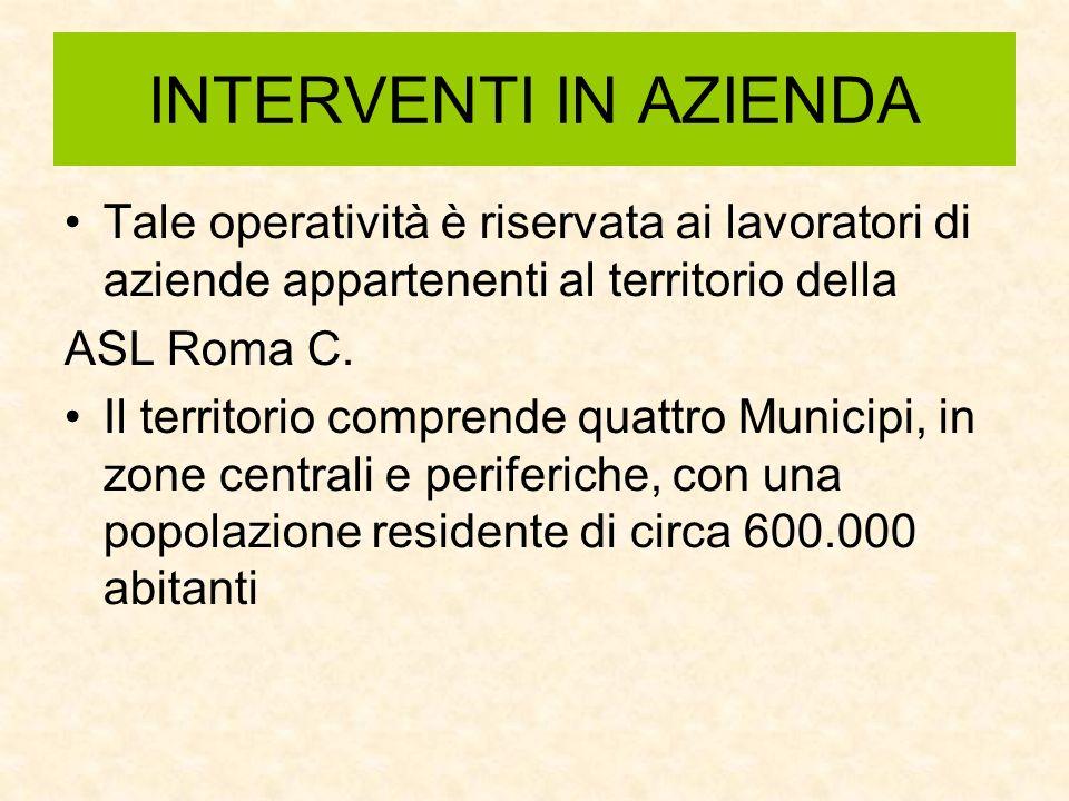 INTERVENTI IN AZIENDA Tale operatività è riservata ai lavoratori di aziende appartenenti al territorio della ASL Roma C. Il territorio comprende quatt