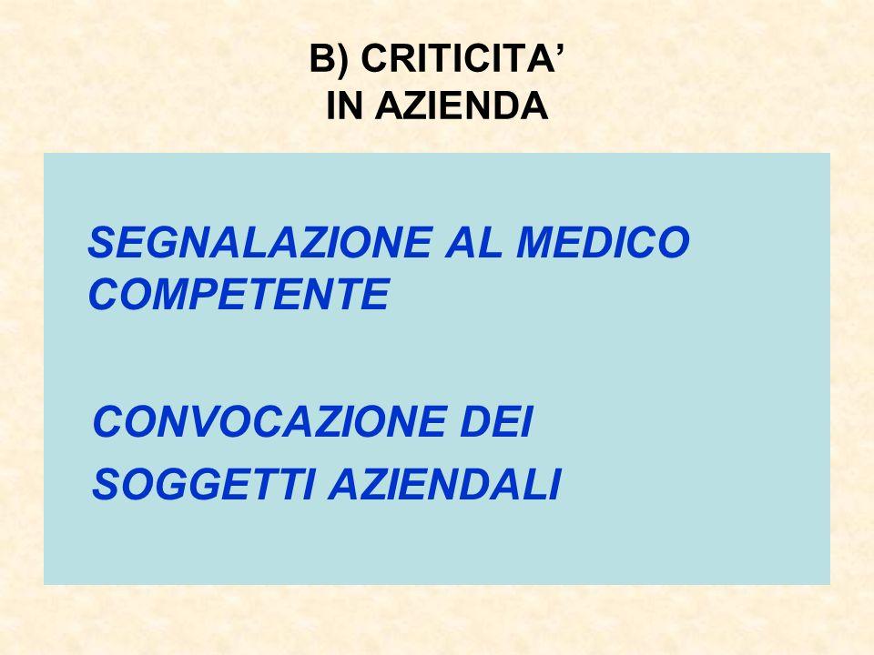 B) CRITICITA IN AZIENDA SEGNALAZIONE AL MEDICO COMPETENTE CONVOCAZIONE DEI SOGGETTI AZIENDALI