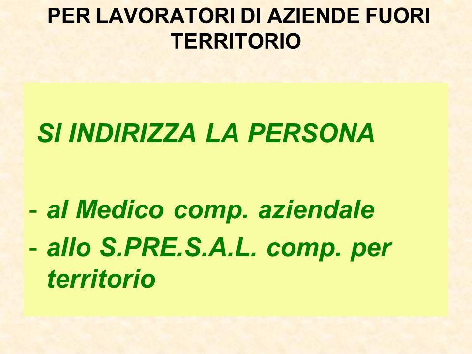 PER LAVORATORI DI AZIENDE FUORI TERRITORIO SI INDIRIZZA LA PERSONA -al Medico comp.