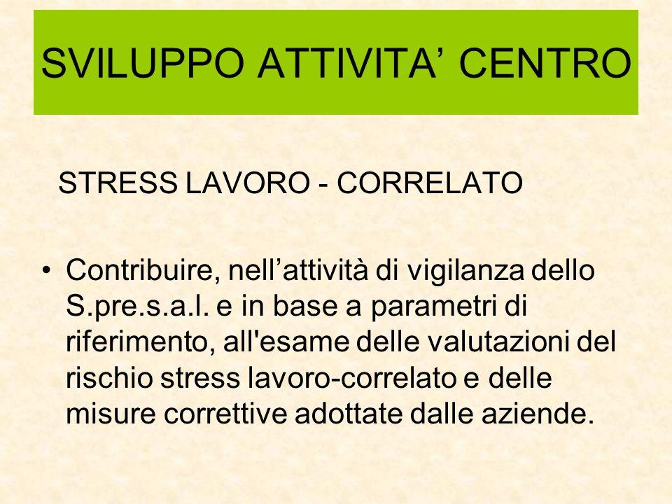 SVILUPPO ATTIVITA CENTRO STRESS LAVORO - CORRELATO Contribuire, nellattività di vigilanza dello S.pre.s.a.l.