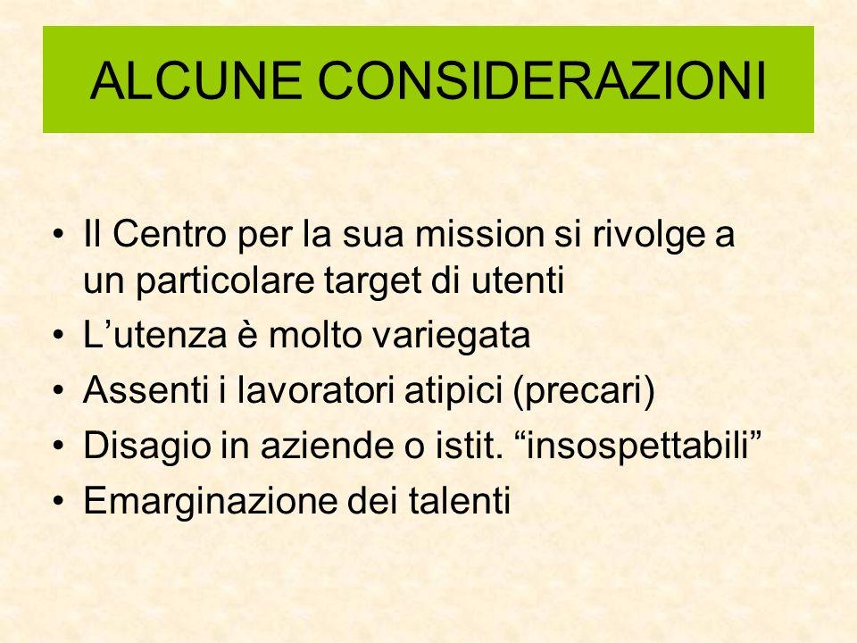 ALCUNE CONSIDERAZIONI Il Centro per la sua mission si rivolge a un particolare target di utenti Lutenza è molto variegata Assenti i lavoratori atipici (precari) Disagio in aziende o istit.