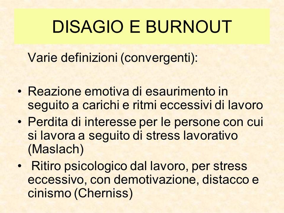 DISAGIO E BURNOUT Varie definizioni (convergenti): Reazione emotiva di esaurimento in seguito a carichi e ritmi eccessivi di lavoro Perdita di interes