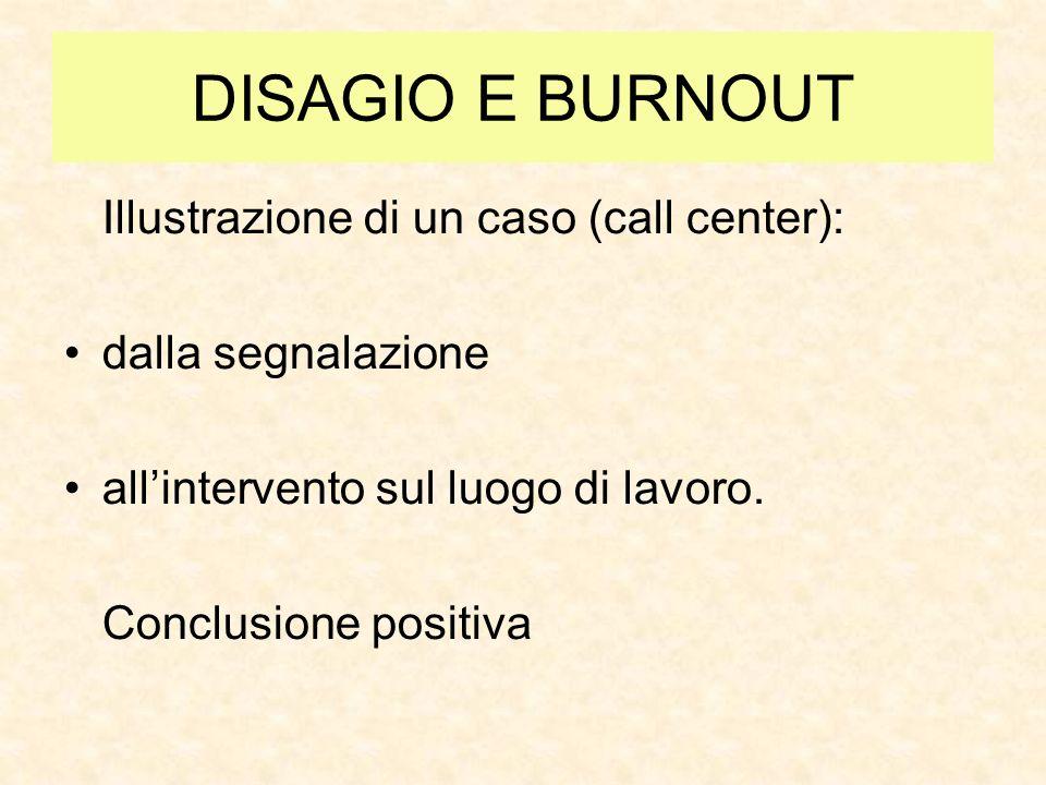 DISAGIO E BURNOUT Illustrazione di un caso (call center): dalla segnalazione allintervento sul luogo di lavoro. Conclusione positiva