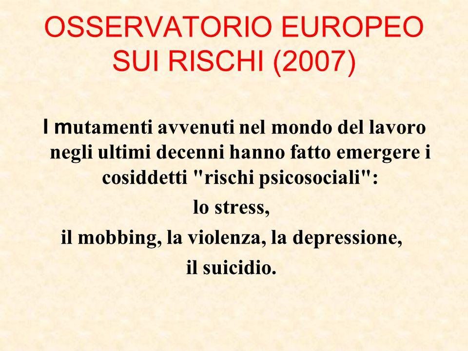 OSSERVATORIO EUROPEO SUI RISCHI (2007) I m utamenti avvenuti nel mondo del lavoro negli ultimi decenni hanno fatto emergere i cosiddetti rischi psicosociali : lo stress, il mobbing, la violenza, la depressione, il suicidio.