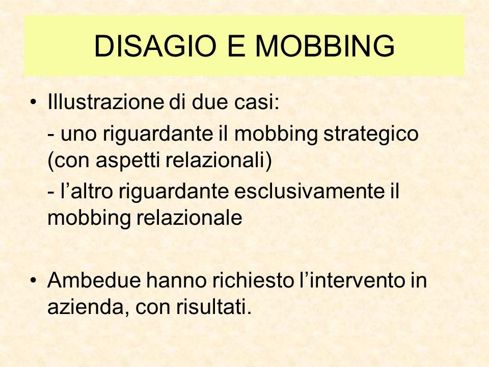 DISAGIO E MOBBING Illustrazione di due casi: - uno riguardante il mobbing strategico (con aspetti relazionali) - laltro riguardante esclusivamente il mobbing relazionale Ambedue hanno richiesto lintervento in azienda, con risultati.