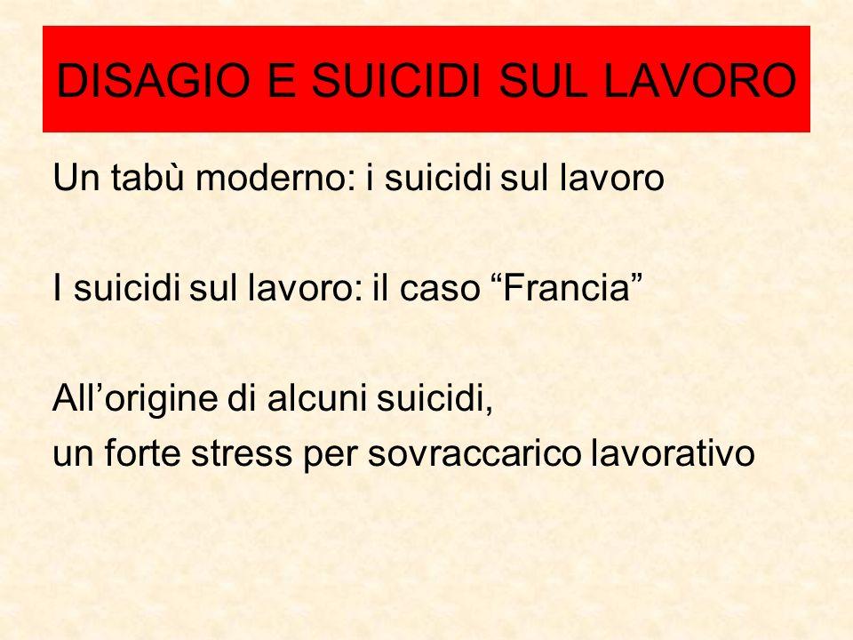 DISAGIO E SUICIDI SUL LAVORO Un tabù moderno: i suicidi sul lavoro I suicidi sul lavoro: il caso Francia Allorigine di alcuni suicidi, un forte stress per sovraccarico lavorativo
