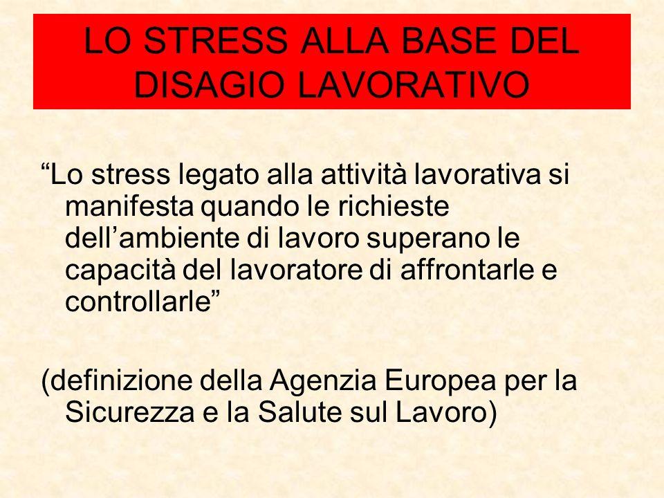 LO STRESS ALLA BASE DEL DISAGIO LAVORATIVO Lo stress legato alla attività lavorativa si manifesta quando le richieste dellambiente di lavoro superano le capacità del lavoratore di affrontarle e controllarle (definizione della Agenzia Europea per la Sicurezza e la Salute sul Lavoro)