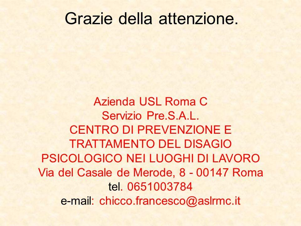 Grazie della attenzione. Azienda USL Roma C Servizio Pre.S.A.L. CENTRO DI PREVENZIONE E TRATTAMENTO DEL DISAGIO PSICOLOGICO NEI LUOGHI DI LAVORO Via d