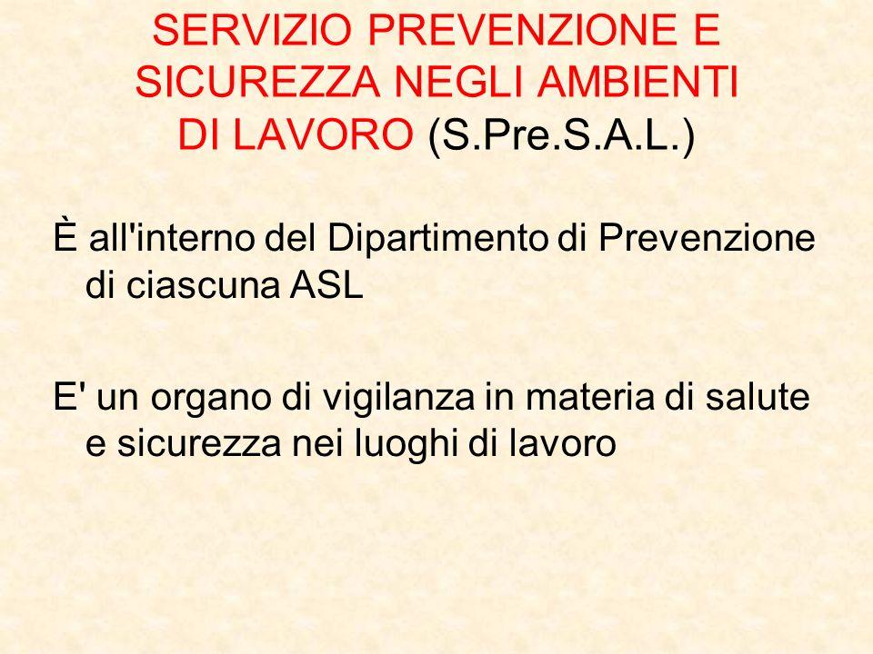 SERVIZIO PREVENZIONE E SICUREZZA NEGLI AMBIENTI DI LAVORO (S.Pre.S.A.L.) È all'interno del Dipartimento di Prevenzione di ciascuna ASL E' un organo di