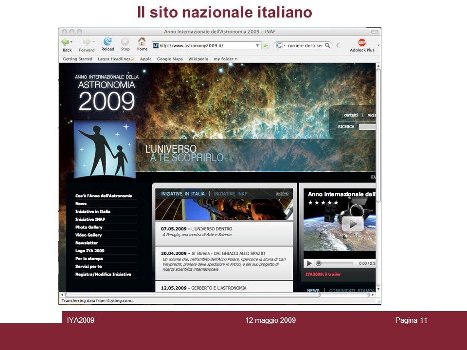 12 maggio 2009IYA2009Pagina 11 Il sito nazionale italiano