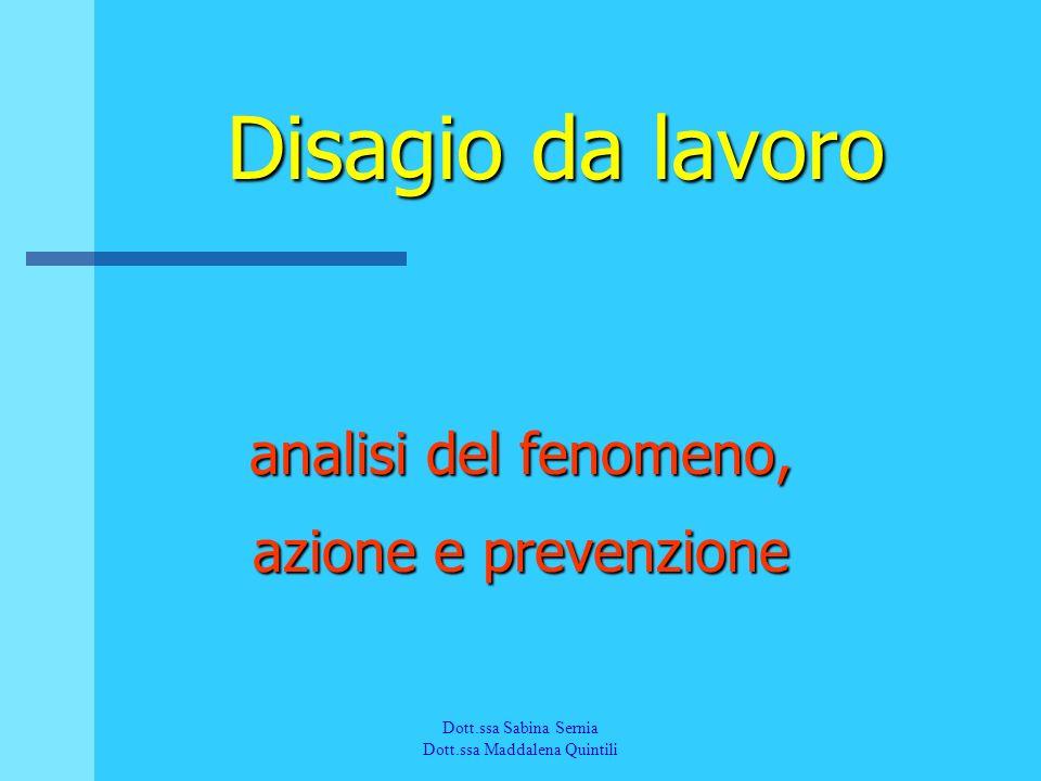Disagio da lavoro analisi del fenomeno, azione e prevenzione Dott.ssa Sabina Sernia Dott.ssa Maddalena Quintili