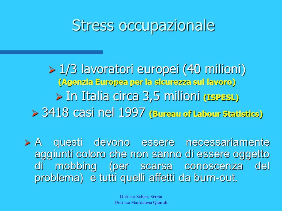 Dott.a M. Quintili Spec. in Medicina del Lavoro Stress occupazionale 1/3 lavoratori europei (40 milioni) 1/3 lavoratori europei (40 milioni) (Agenzia