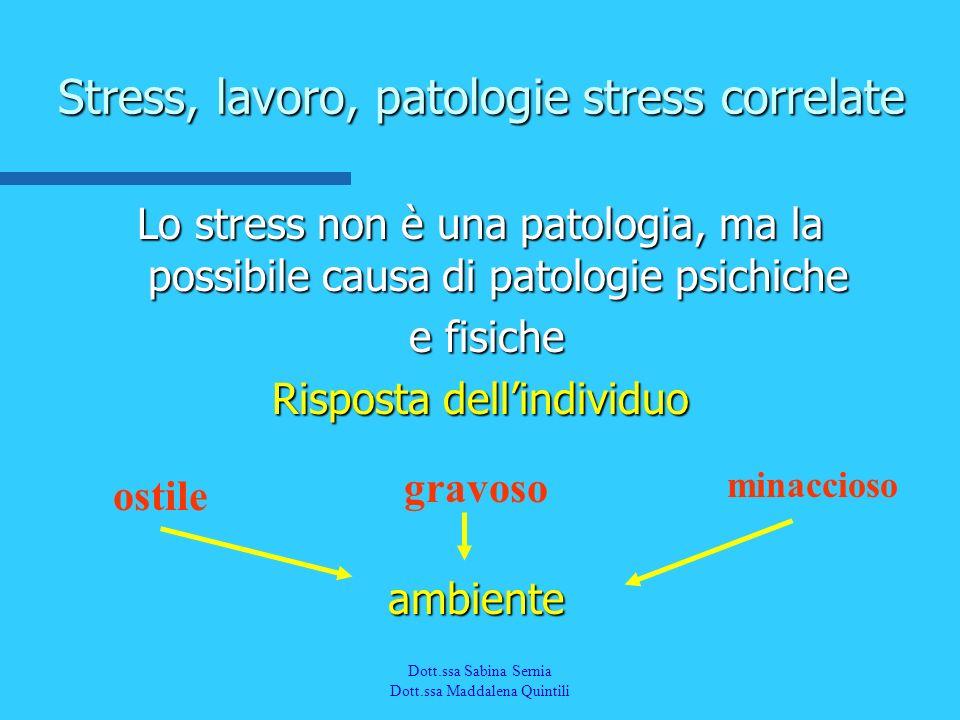 Dott.a M. Quintili Spec. in Medicina del Lavoro Stress, lavoro, patologie stress correlate Lo stress non è una patologia, ma la possibile causa di pat