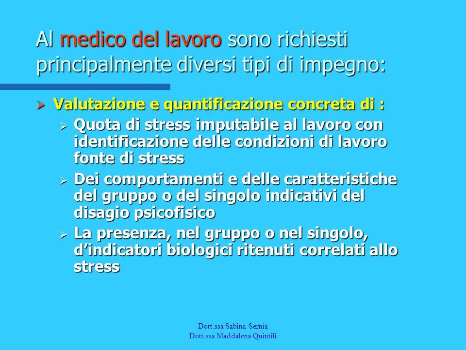 Dott.a M. Quintili Spec. in Medicina del Lavoro Valutazione e quantificazione concreta di : Valutazione e quantificazione concreta di : Quota di stres