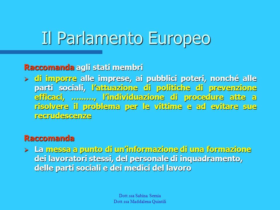 Dott.a M. Quintili Spec. in Medicina del Lavoro Il Parlamento Europeo Raccomanda agli stati membri di imporre alle imprese, ai pubblici poteri, nonché
