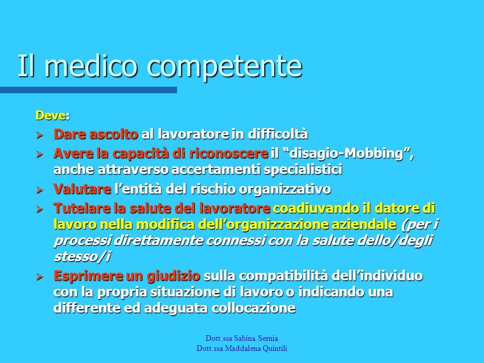Dott.a M. Quintili Spec. in Medicina del Lavoro Il medico competente Deve: Dare ascolto al lavoratore in difficoltà Dare ascolto al lavoratore in diff