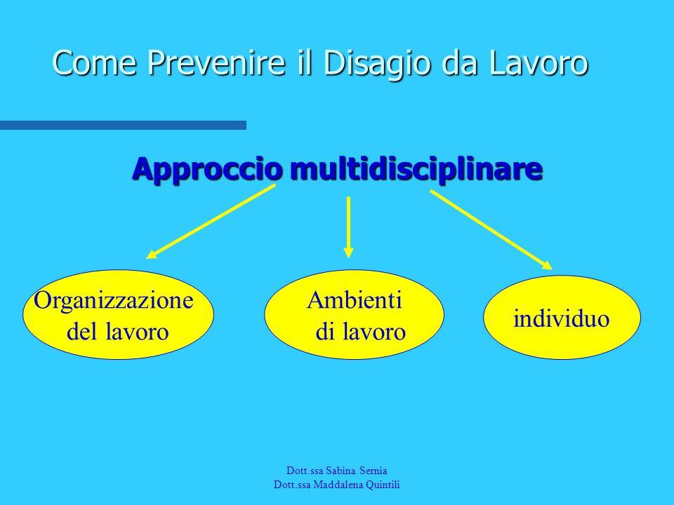 Dott.a M. Quintili Spec. in Medicina del Lavoro Approccio multidisciplinare Come Prevenire il Disagio da Lavoro Organizzazione del lavoro Ambienti di