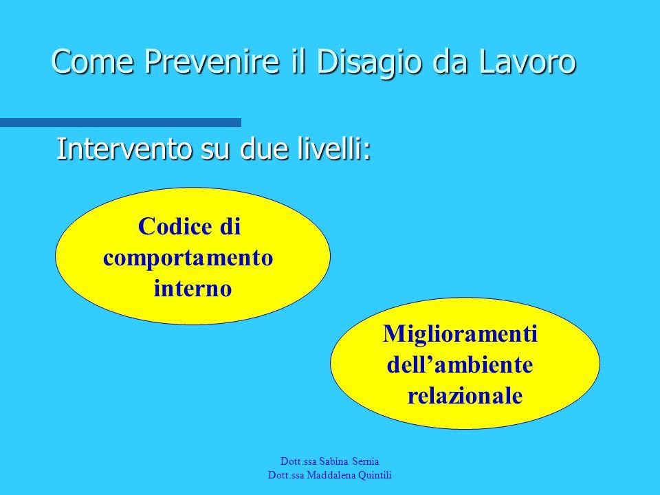 Dott.a M. Quintili Spec. in Medicina del Lavoro Intervento su due livelli: Come Prevenire il Disagio da Lavoro Codice di comportamento interno Miglior