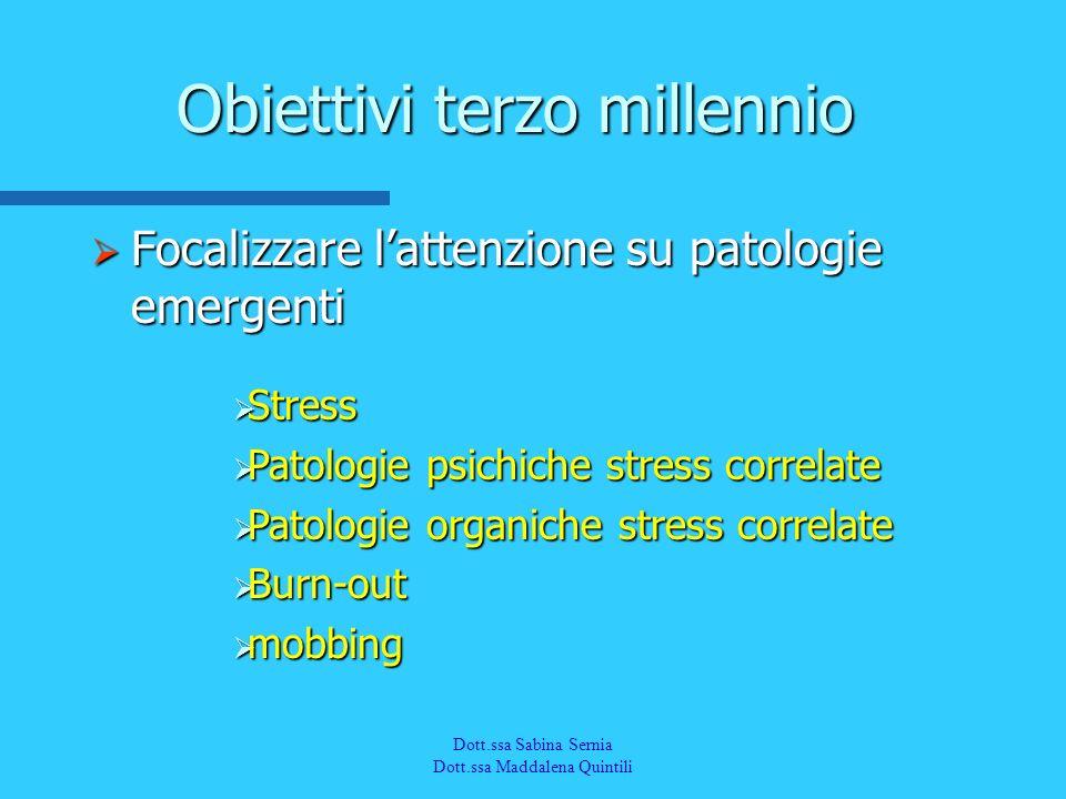 Dott.a M. Quintili Spec. in Medicina del Lavoro Focalizzare lattenzione su patologie emergenti Focalizzare lattenzione su patologie emergenti Obiettiv