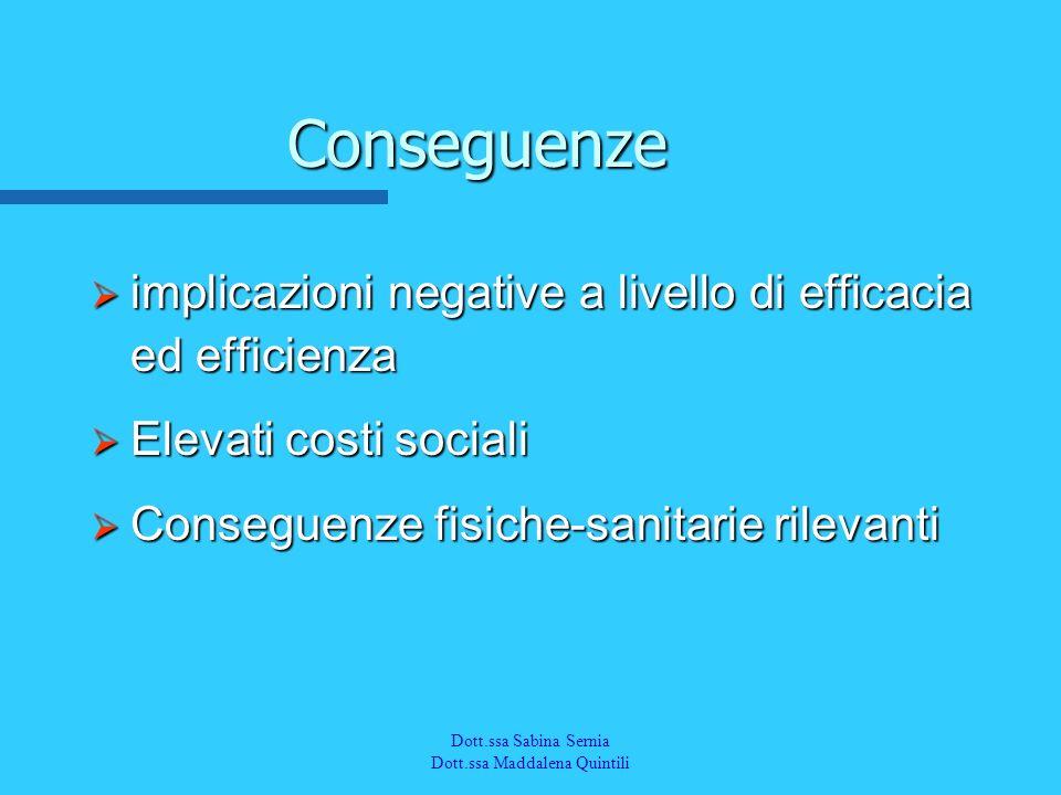 Dott.a M. Quintili Spec. in Medicina del Lavoro Conseguenze implicazioni negative a livello di efficacia ed efficienza implicazioni negative a livello
