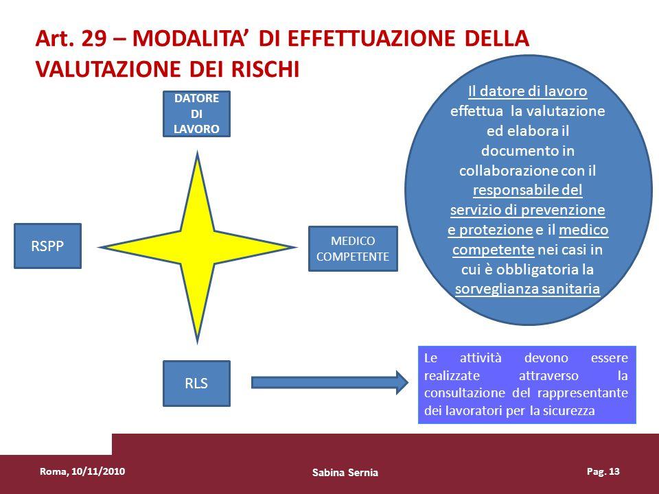Roma, 10/11/2010Pag. 13 Le attività devono essere realizzate attraverso la consultazione del rappresentante dei lavoratori per la sicurezza Art. 29 –