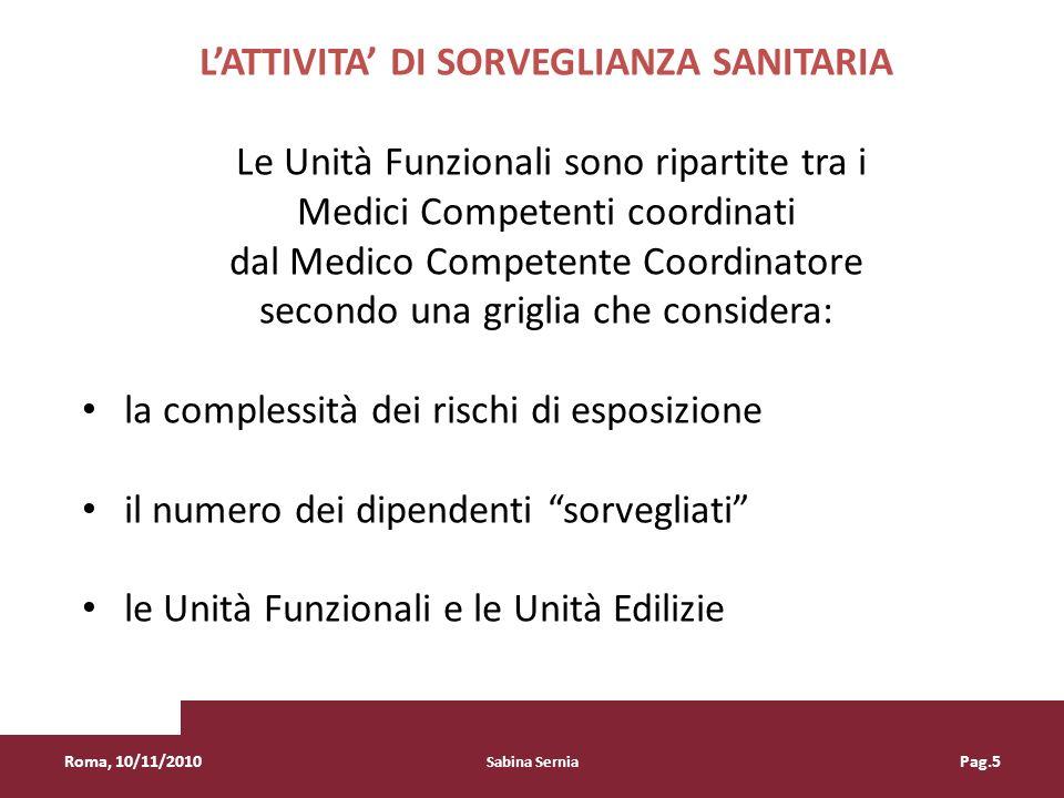 LATTIVITA DI SORVEGLIANZA SANITARIA Le Unità Funzionali sono ripartite tra i Medici Competenti coordinati dal Medico Competente Coordinatore secondo u