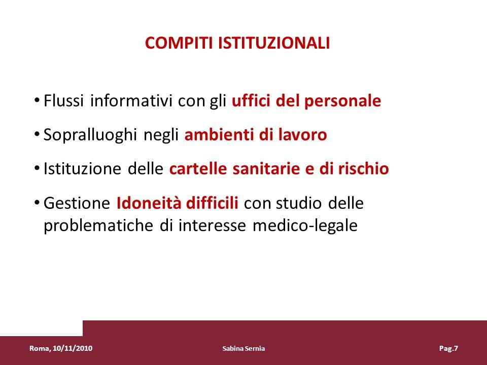 Flussi informativi con gli uffici del personale Sopralluoghi negli ambienti di lavoro Istituzione delle cartelle sanitarie e di rischio Gestione Idone
