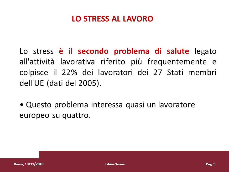 Sabina Sernia Pag. 9 Lo stress è il secondo problema di salute legato all'attività lavorativa riferito più frequentemente e colpisce il 22% dei lavora
