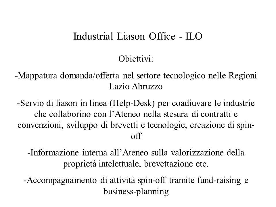 Industrial Liason Office - ILO Obiettivi: -Mappatura domanda/offerta nel settore tecnologico nelle Regioni Lazio Abruzzo -Servio di liason in linea (Help-Desk) per coadiuvare le industrie che collaborino con lAteneo nella stesura di contratti e convenzioni, sviluppo di brevetti e tecnologie, creazione di spin- off -Informazione interna allAteneo sulla valorizzazione della proprietà intelettuale, brevettazione etc.
