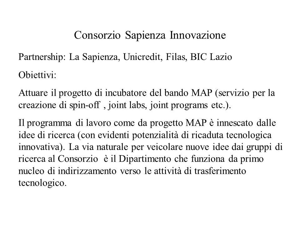 Consorzio Sapienza Innovazione Partnership: La Sapienza, Unicredit, Filas, BIC Lazio Obiettivi: Attuare il progetto di incubatore del bando MAP (servizio per la creazione di spin-off, joint labs, joint programs etc.).
