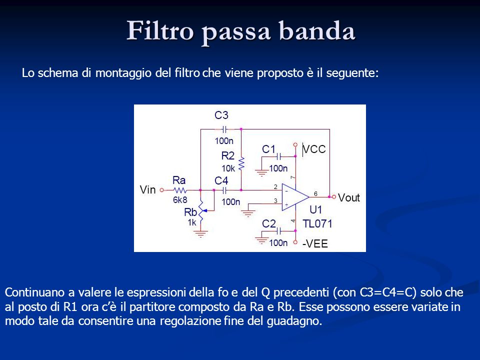 Filtro passa banda Lo schema di montaggio del filtro che viene proposto è il seguente: Continuano a valere le espressioni della fo e del Q precedenti (con C3=C4=C) solo che al posto di R1 ora cè il partitore composto da Ra e Rb.