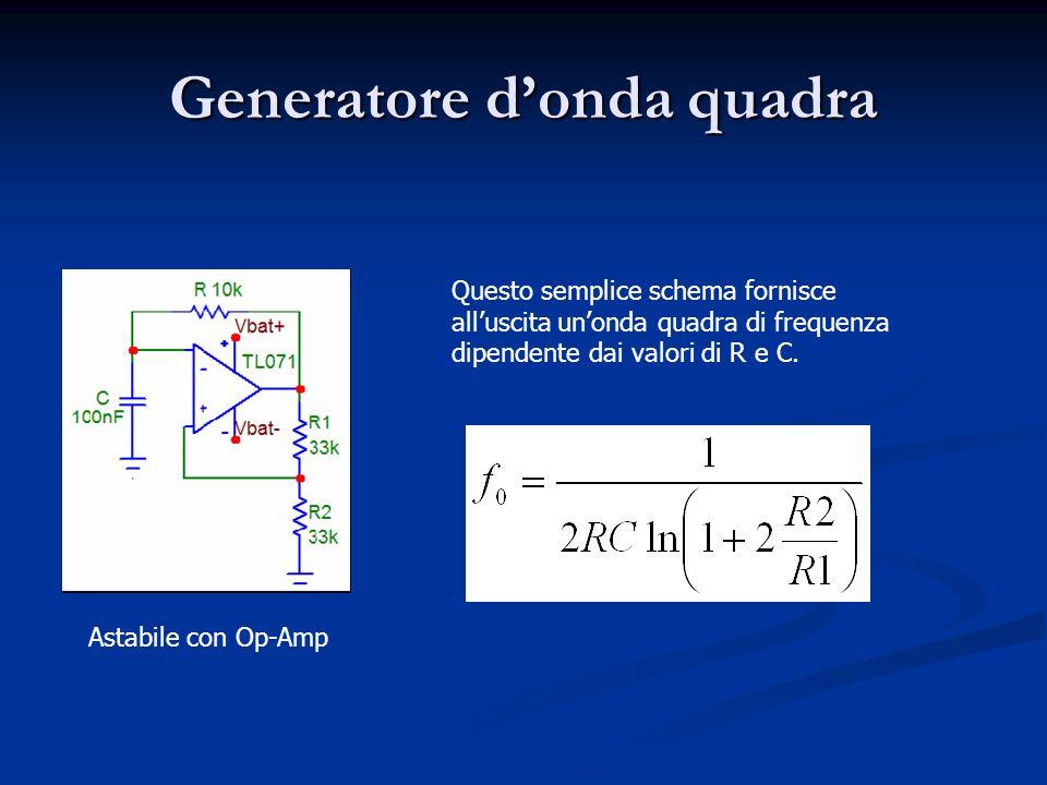 Generatore donda quadra Astabile con Op-Amp Questo semplice schema fornisce alluscita unonda quadra di frequenza dipendente dai valori di R e C.