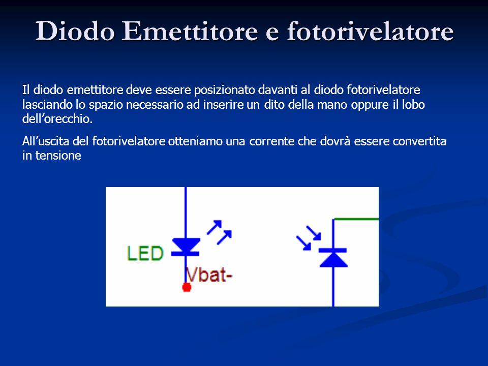Diodo Emettitore e fotorivelatore Il diodo emettitore deve essere posizionato davanti al diodo fotorivelatore lasciando lo spazio necessario ad inserire un dito della mano oppure il lobo dellorecchio.