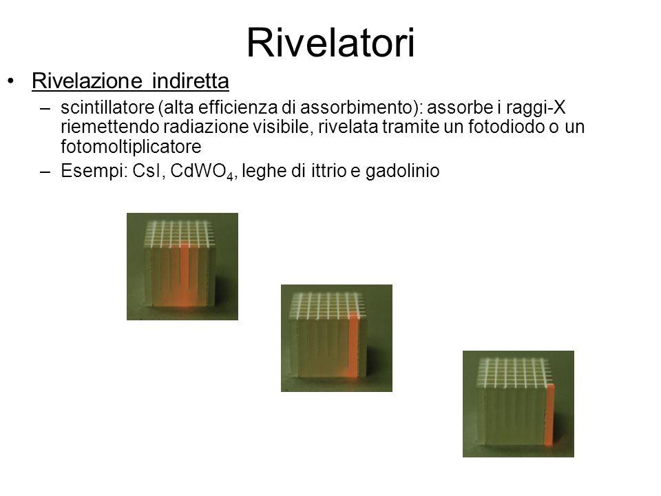 Rivelazione indiretta –scintillatore (alta efficienza di assorbimento): assorbe i raggi-X riemettendo radiazione visibile, rivelata tramite un fotodio