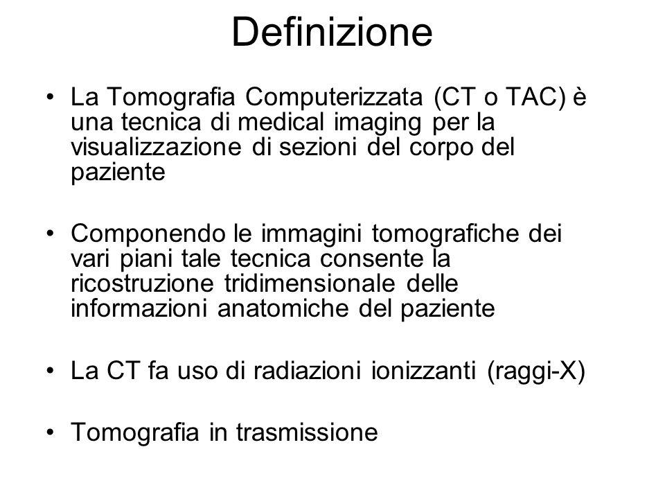 La Tomografia Computerizzata (CT o TAC) è una tecnica di medical imaging per la visualizzazione di sezioni del corpo del paziente Componendo le immagi
