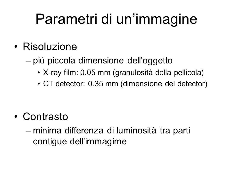 Parametri di unimmagine Risoluzione –più piccola dimensione delloggetto X-ray film: 0.05 mm (granulosità della pellicola) CT detector: 0.35 mm (dimens