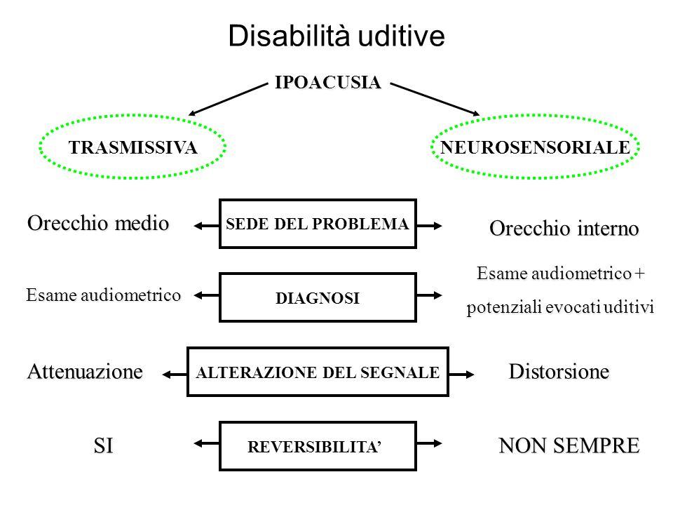 Disabilità uditive IPOACUSIA TRASMISSIVANEUROSENSORIALE SEDE DEL PROBLEMA Orecchio medio Orecchio interno DIAGNOSI Esame audiometrico Esame audiometri