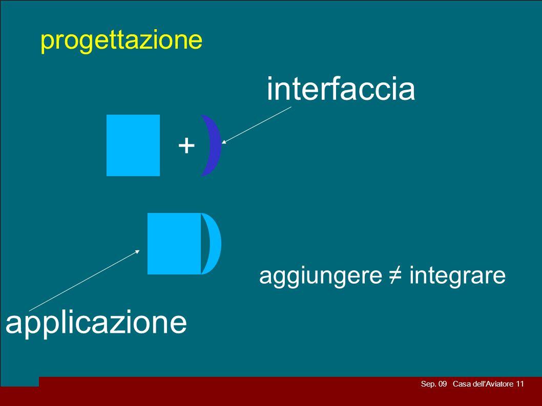 Sep. 09 Casa dellAviatore 11 progettazione interfaccia applicazione + aggiungere integrare