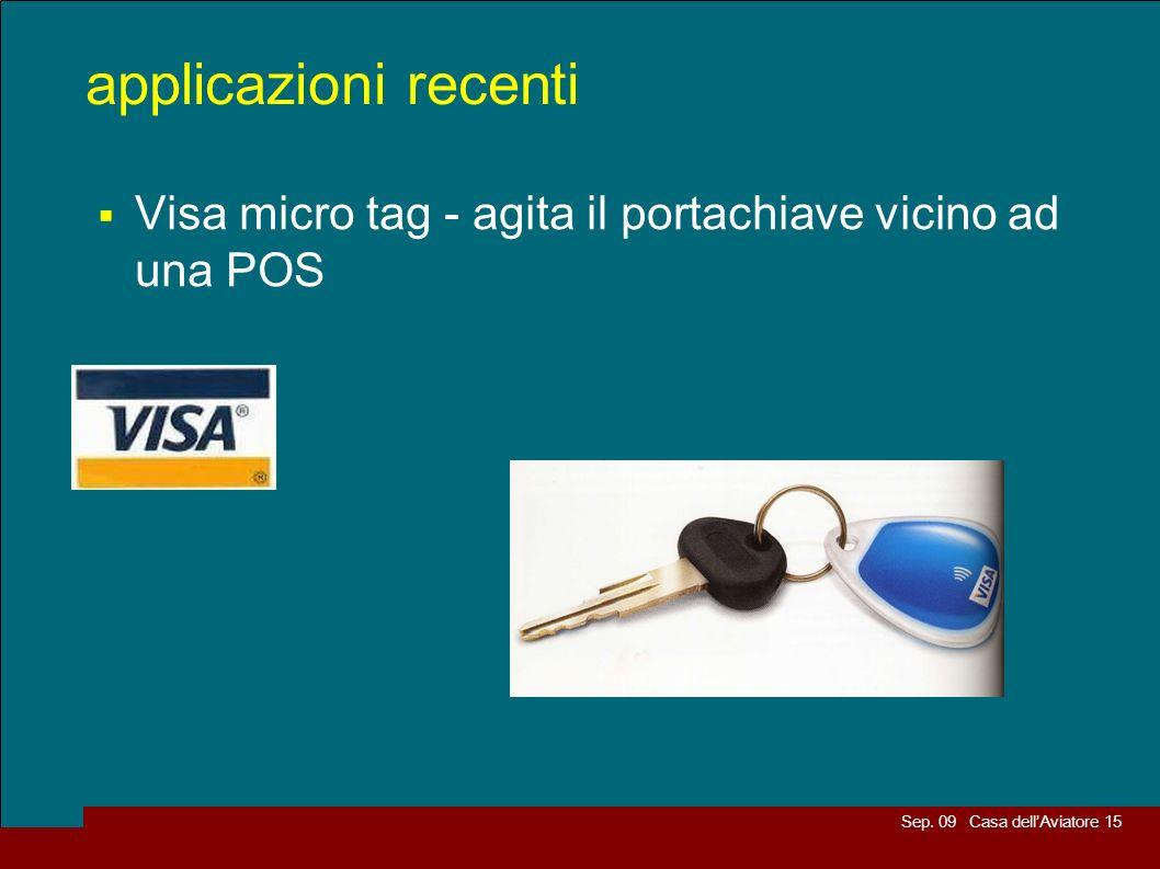 Sep. 09 Casa dellAviatore 15 applicazioni recenti Visa micro tag - agita il portachiave vicino ad una POS