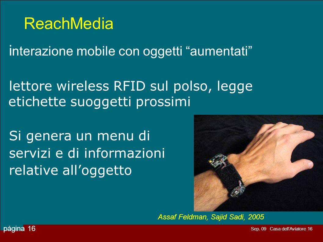 Sep. 09 Casa dellAviatore 16 página 16 ReachMedia i nterazione mobile con oggetti aumentati lettore wireless RFID sul polso, legge etichette suoggetti