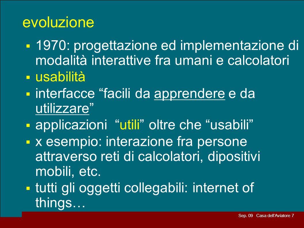 Sep. 09 Casa dellAviatore 7 evoluzione 1970: progettazione ed implementazione di modalità interattive fra umani e calcolatori usabilità interfacce fac