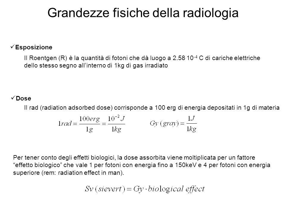 Relazione tra R e rad Energia di ionizzazione dellaria = 33.85 eV=33.85J/C numero di ionizazioni/g causate da 1R 1 rad = 1 rem 1 R Radiazione di fondo: Varia da 5x10 -3 a 2x10 -2 Sv/anno 1eV=1.610 -12 erg