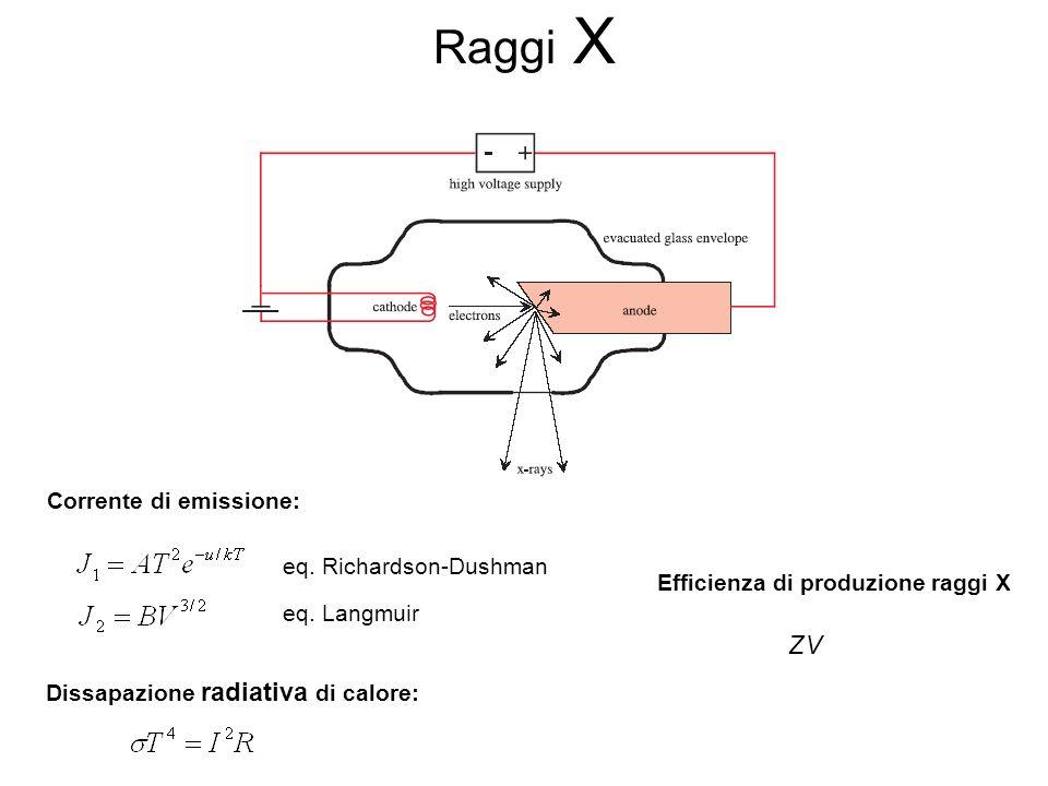 Raggi X Corrente di emissione: eq. Richardson-Dushman eq.