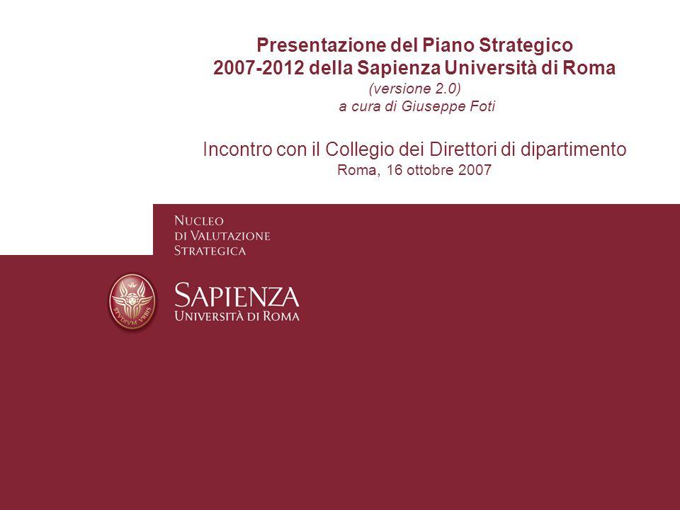 Presentazione del Piano Strategico 2007-2012 della Sapienza Università di Roma (versione 2.0) a cura di Giuseppe Foti Incontro con il Collegio dei Dir