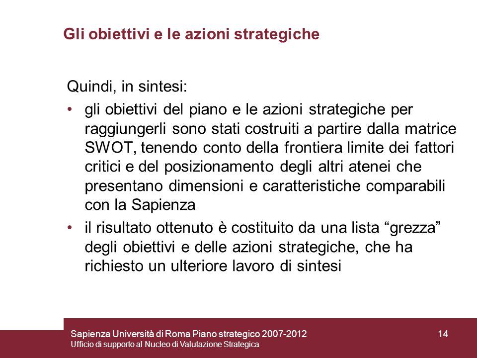 Sapienza Università di Roma Piano strategico 2007-2012 Ufficio di supporto al Nucleo di Valutazione Strategica 14 Gli obiettivi e le azioni strategich